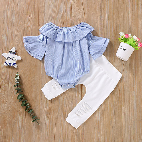 Light Blue Ruffle Sleeve Romper with White Long Pant