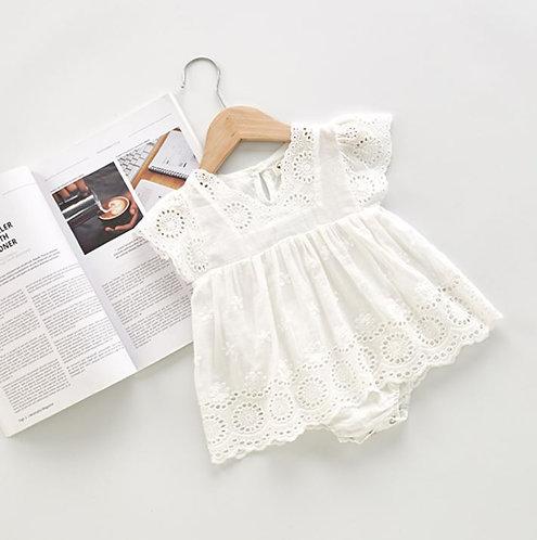 Lace Design Ruffle Sleeve Romper Like White Dress
