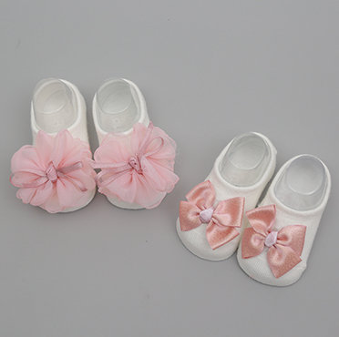 Ribbon & Floral Design Socks for Baby Girl (2 Pairs)