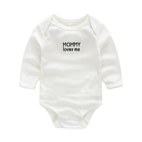 Mummy Loves Me White Long Sleeve Romper/Bodysuits