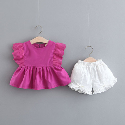 2-piece Ruffle Lacey Top with White Short Pant for Baby Girl