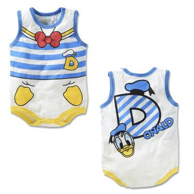 Donald Duck Design Sleeveless Romper/Bodysuits