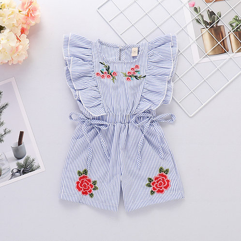 [Clearance Sale] Ruffle Sleeve Rose Flower Embroidery Little Girl Jumpsuits