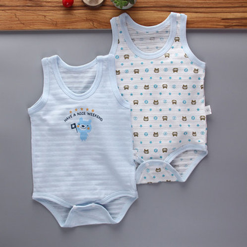 Stripped Singlet Cooling Design Baby Romper/Jumpsuits (2Pcs Pack)