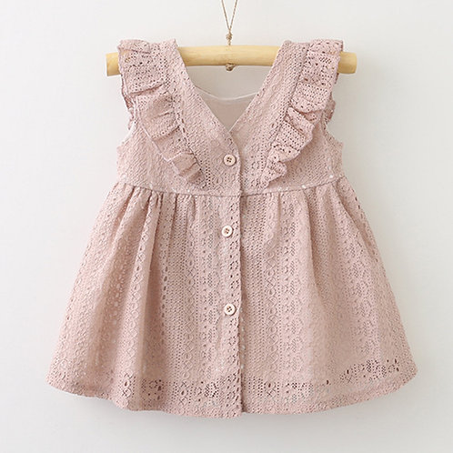 [Clearance Sale] Rufflle Sleeve Lace Design Dress for Baby Girl Toddler