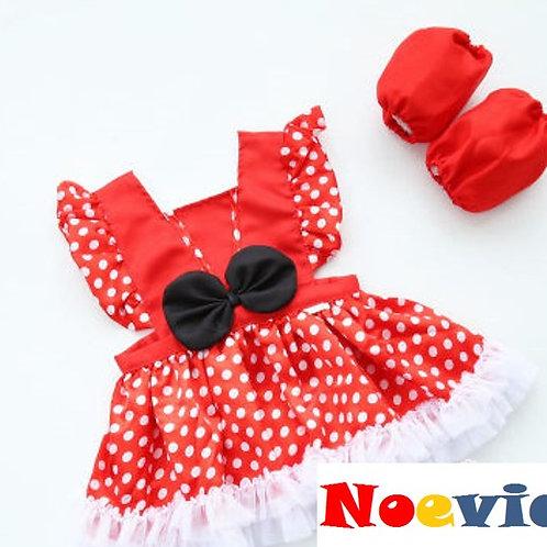 Red Polka Dot Minnie Like Dress for Little Girl