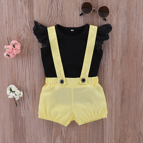 Black Lace Sleeve Top with Yellow Suspender for Baby Girl (OUT OF STOCK)