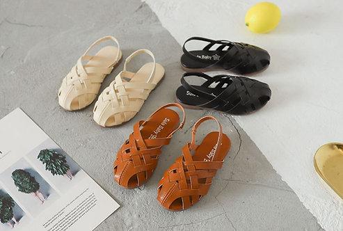 Leather Strap Roman Sandal Design for Little Girl
