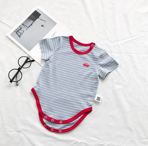 Baby Grey Romper with Red Crab