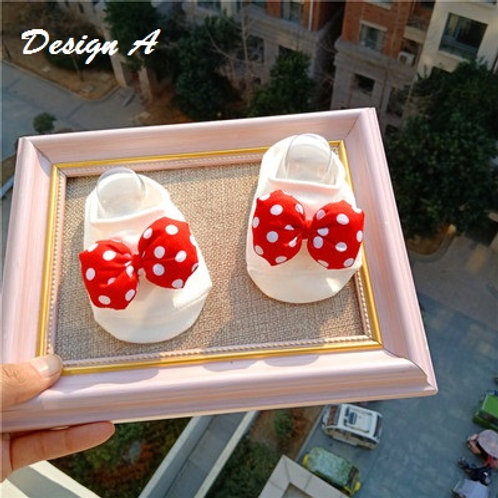 Red Design Ribbon Non-Slip Socks for Baby Girl (OUT OF STOCK)