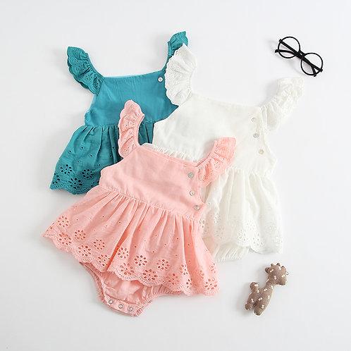 Ruffle Sleeve Lace Bottom Dress Like Baby Girl Romper