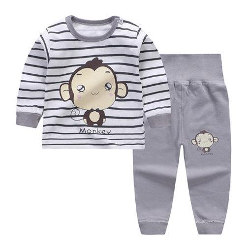Little Monkey Grey Strip Print Long Sleeve Sleepsuits