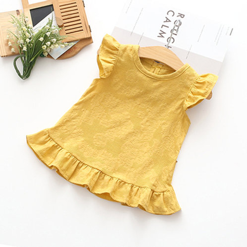 [Clearance Sale] Ruffle Sleeve Round Neck Simple Dress for Little Girl