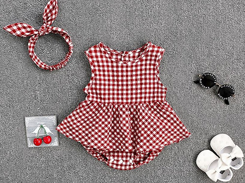 2-piece Lovely Plaid Romper and Headband Set