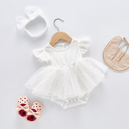 White Ruffle Dress Like Romper for Baby Girl