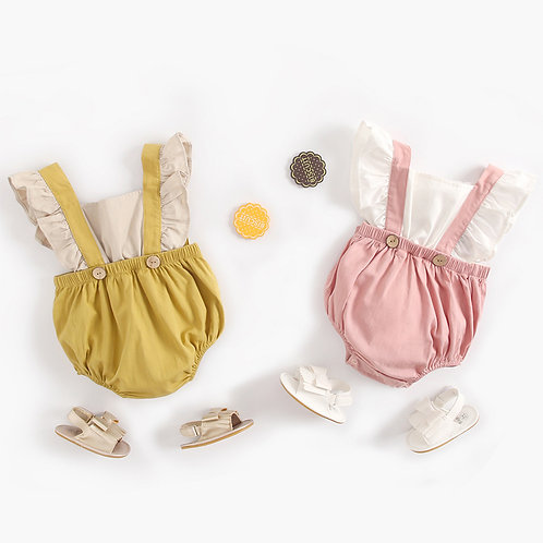 2-piece like Baby Suspender with Ruffle Sleeve