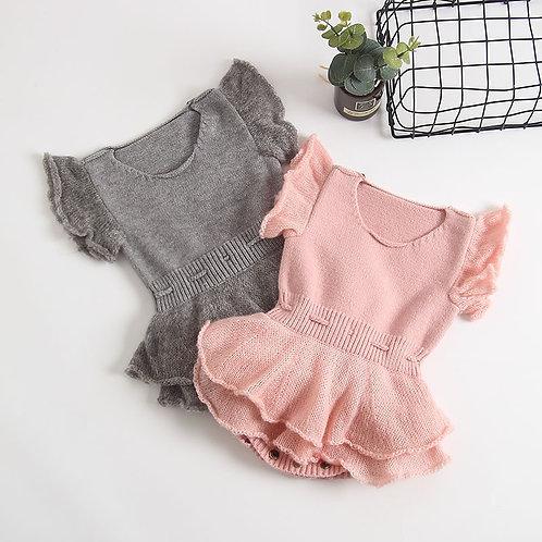 Comfy Plain Knitted Dress Like Romper for Baby Girl