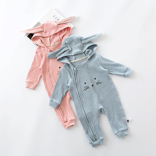 Bunny Stripped Hooded Jumpsuits for Babies