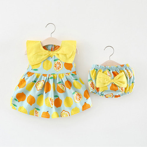 2-piece Orange Lemon Dress with Panties