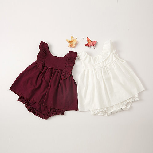 Ruffle Sleeve Dress Like Romper for Baby Girl