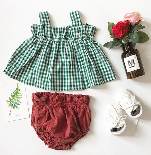 Green Sleeveless Top with Maroon Bottom Pant  Set