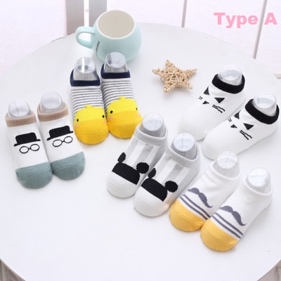 Mickey Mustache Duck Printed Design Baby Socks (5 Pairs)