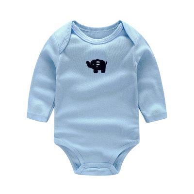 Little Elephant Embroidery Long Sleeve Light Blue Romper