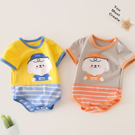Cute Puppy Print with Bottom Strip Romper for Baby Girl/Boy