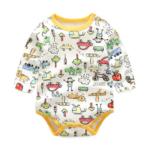 Long Sleeve Romper with Pencil Sketch Design for Baby/Toddler