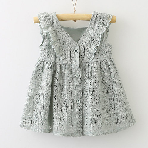 Rufflle Sleeve Lace Design Dress for Baby Girl Toddler