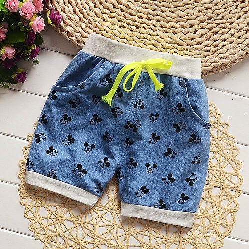 Mickey Print Jeans Short Pant
