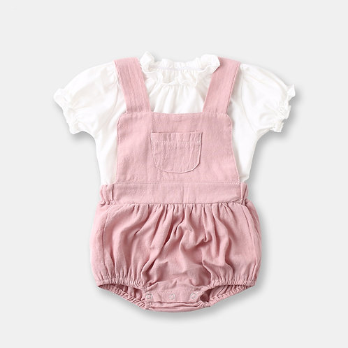 2-pcs White Top with Pink Suspender for Baby Girl