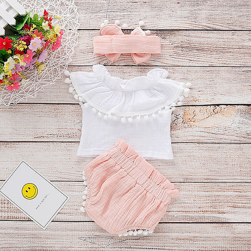 2-pcs White Crop Top with Ribbon Bottom Pant & Headband