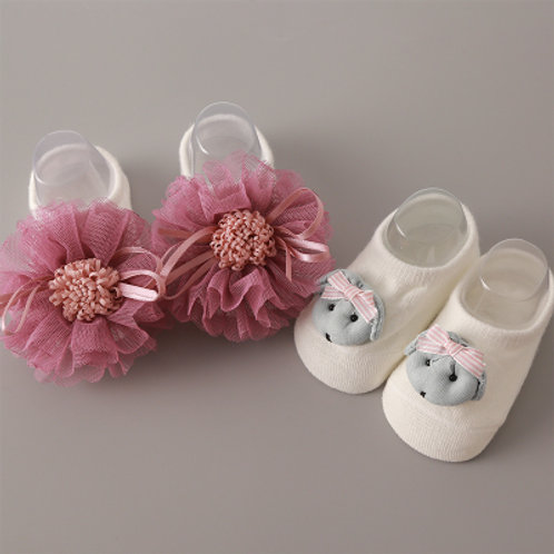 Cute Puppy & Floral Design Socks for Baby Girl (2 Pairs)
