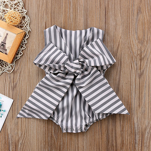 Grey Strip Design with Big Ribbon Romper for Baby Girl