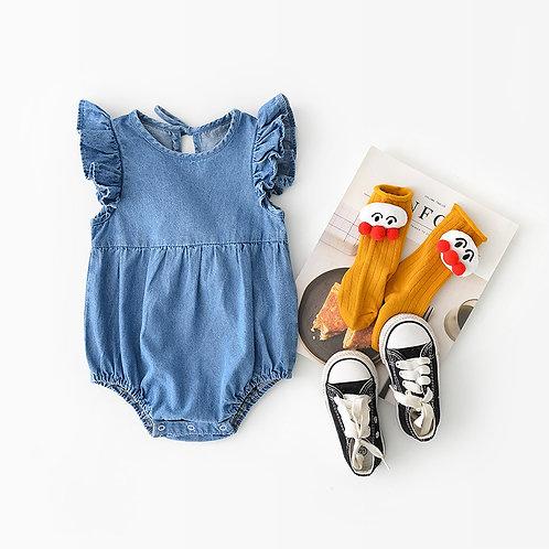Fluttered Sleeve Jeans Romper for Baby Girl