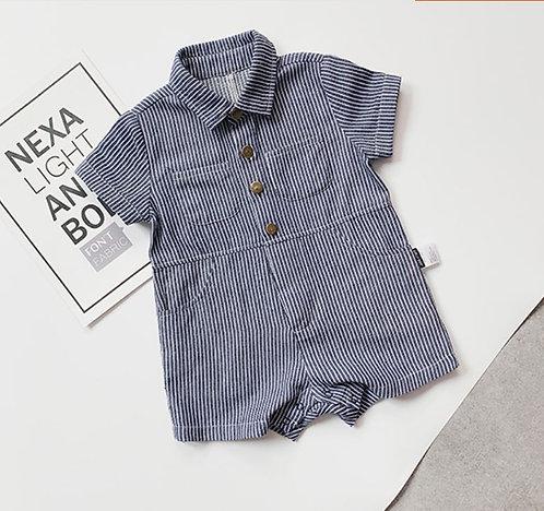 Jeans Blue Strips Baby Boy Bodysuits