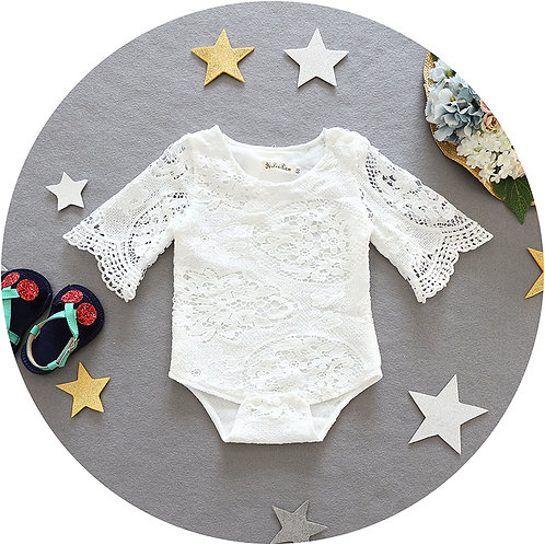 [Clearance Sale] White Lace Design Long Sleeve Ruffle Sleeve Romper