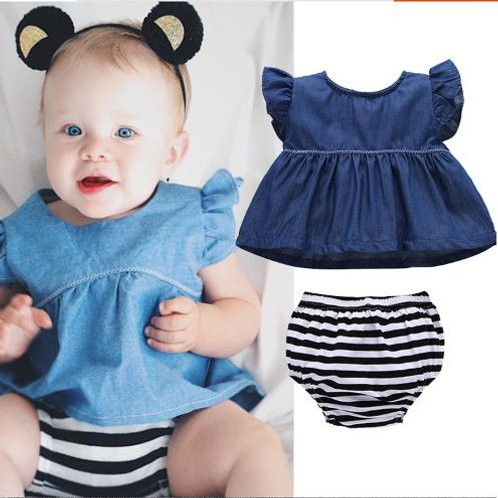 Jeans like Tank Top with Black White Strap Pant for Baby Girl