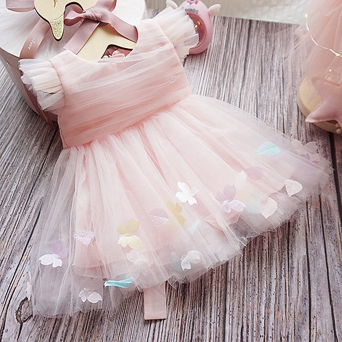Pinky Princess Dress with Colorful Flower Petal