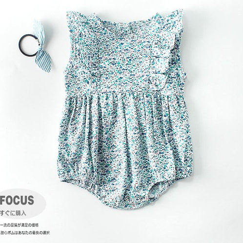 Fluttered Sleeve Floral Romper for Baby Girl