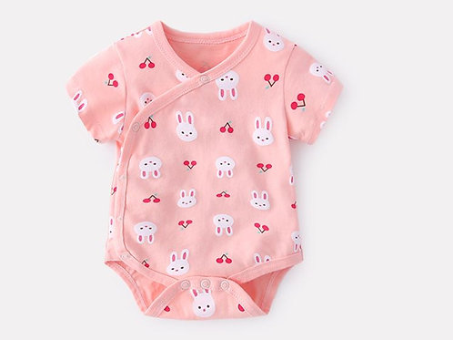 Cute Little Rabbit Pink Romper for Baby Girl