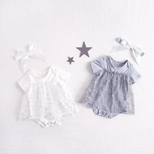 Glittering Star Gauze Dress Like Romper with Headband for Baby Girl