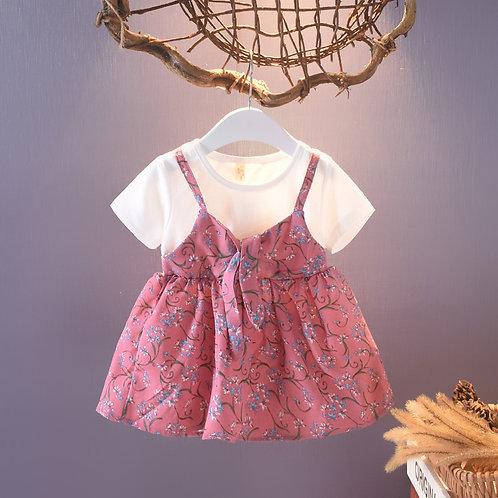 Pink Floral Suspender Like Dress for Baby Girl