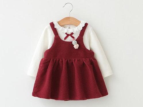 2pcs Lace Riboon Red Dress