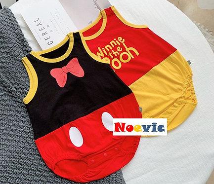 Cute Mickey & Winnie The Pooh Sleeveless Romper