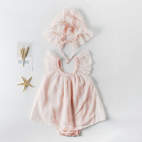 Baby Pink Romper with Soft Gauze & Baby Hat