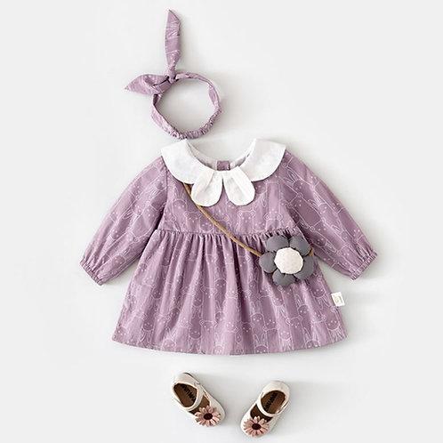 Long Sleeve Rabbit Print Purple Round Neck Dress