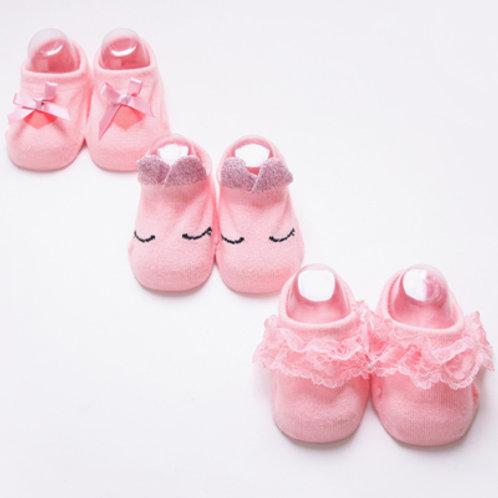 Lace Design Non Slip Socks (3 pairs)