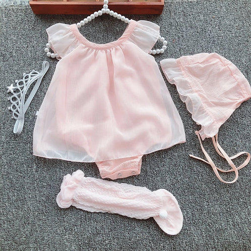 Baby Pink Romper Set with Baby Hat & Socks